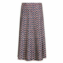 Valentino Scale Logo Pleated Midi Skirt
