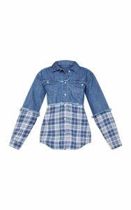 Mid Wash Check Contrast Denim Shirt, Mid Blue Wash