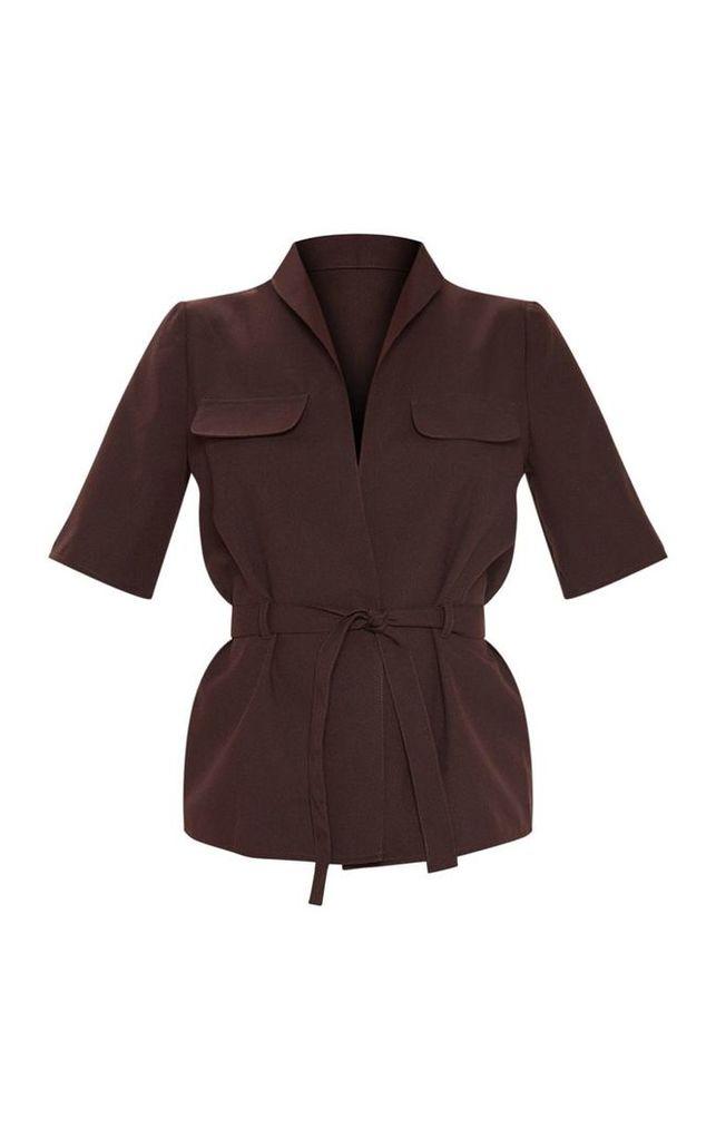 Brown Short Sleeve Utility Shirt, Brown