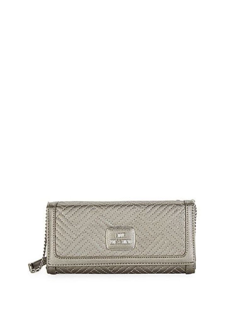 Shiny Quilted Crossbody Clutch