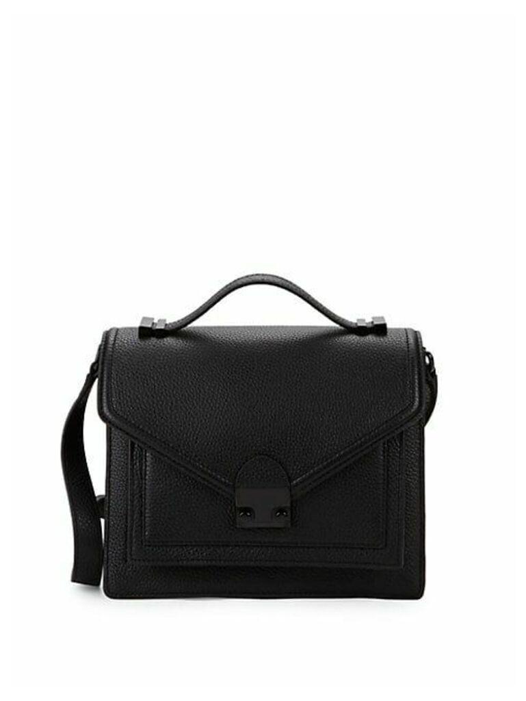 Medium Boxed Pebbled Leather Shoulder Bag