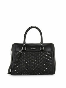 Embellished Quilted Chevron Leather Satchel