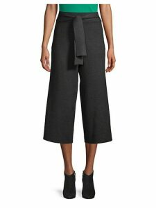 Pull-On Wide-Leg Crop Pants