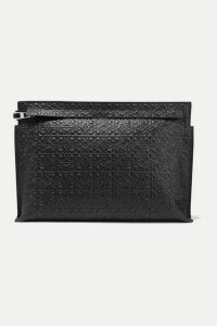 Loewe - T Embossed Leather Pouch - Black