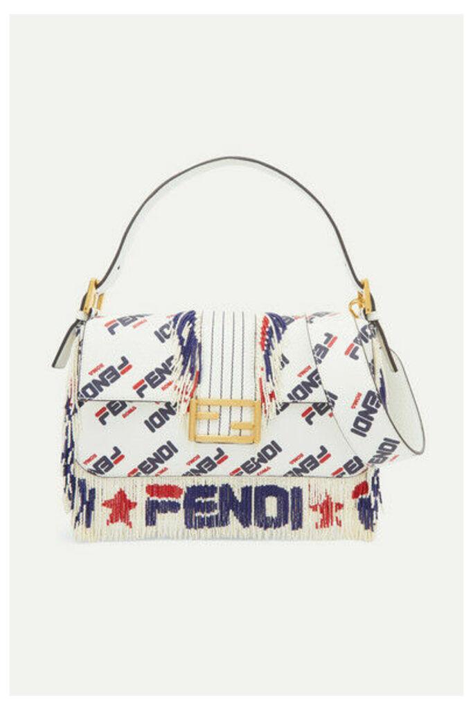 Fendi - Baguette Bead-embellished Printed Leather Shoulder Bag - White