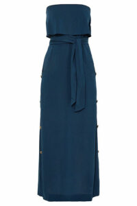 ViX - Glenda Strapless Ruffled Washed-voile Dress - Navy