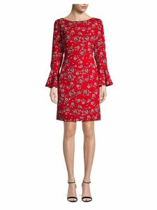 Floral Bell-Sleeve Shift Dress