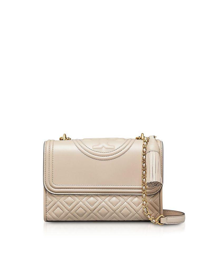 Tory Burch Designer Handbags, Light Taupe Leather Fleming Small Convertible Shoulder Bag