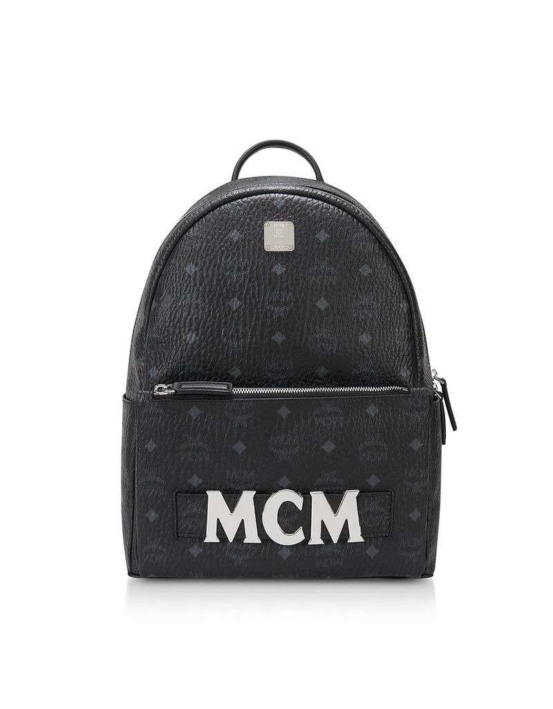 MCM Designer Handbags, Black Trilogie Stark Small/Medium Backpack