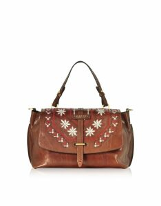 The Bridge Designer Handbags, Fiesole Embroidered Leather Satchel Bag