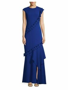 Cap-Sleeve Ruffled Floor-Length Gown
