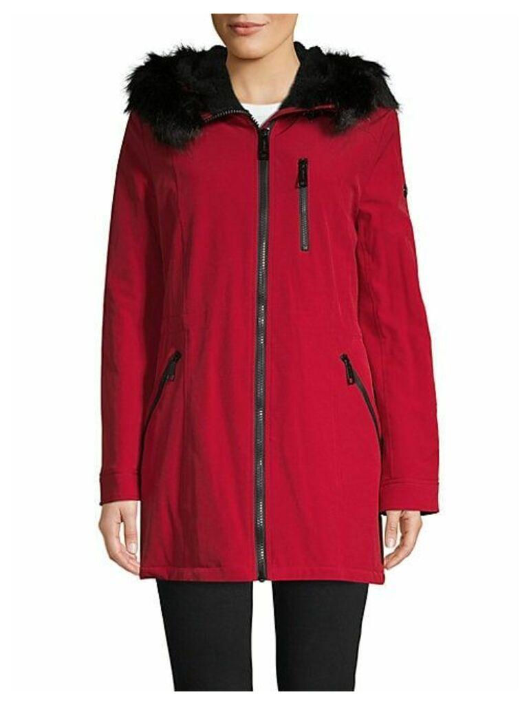 Faux Fur-Trimmed Coat