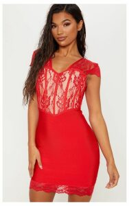 Red Bandage Lace Insert Bodycon Dress, Red