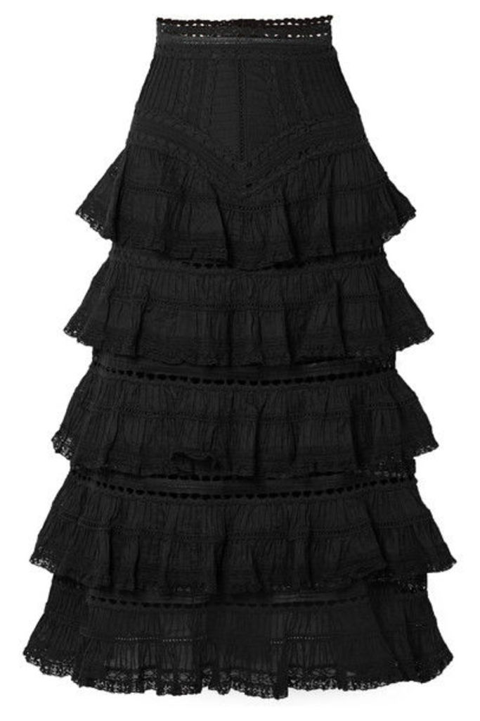 Zimmermann - Juniper Lace-trimmed Tiered Pintucked Cotton-voile Midi Skirt - Black