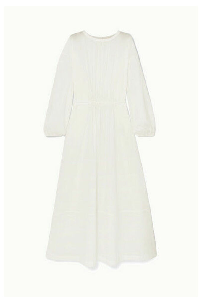 Matteau - Smocked Cotton-piqué Maxi Dress - White