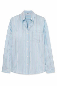 Prada - Striped Silk-satin Shirt - Blue