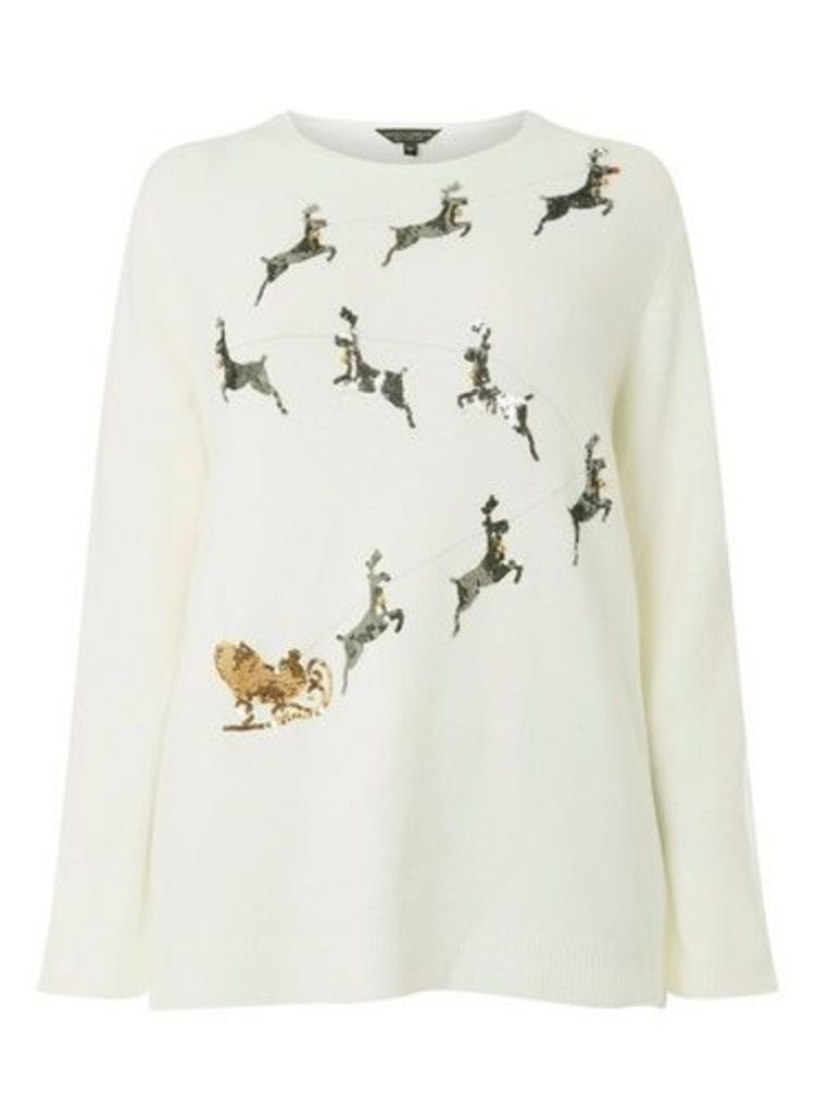 Womens Dp Curve Plus Size Ivory Reindeer Jumper- White, White