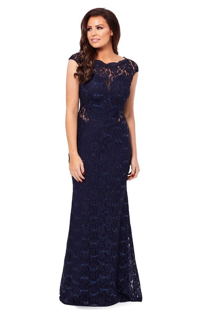 Womens Sistaglam loves Jessica Petite Sequin Lace Maxi Dress -  Blue