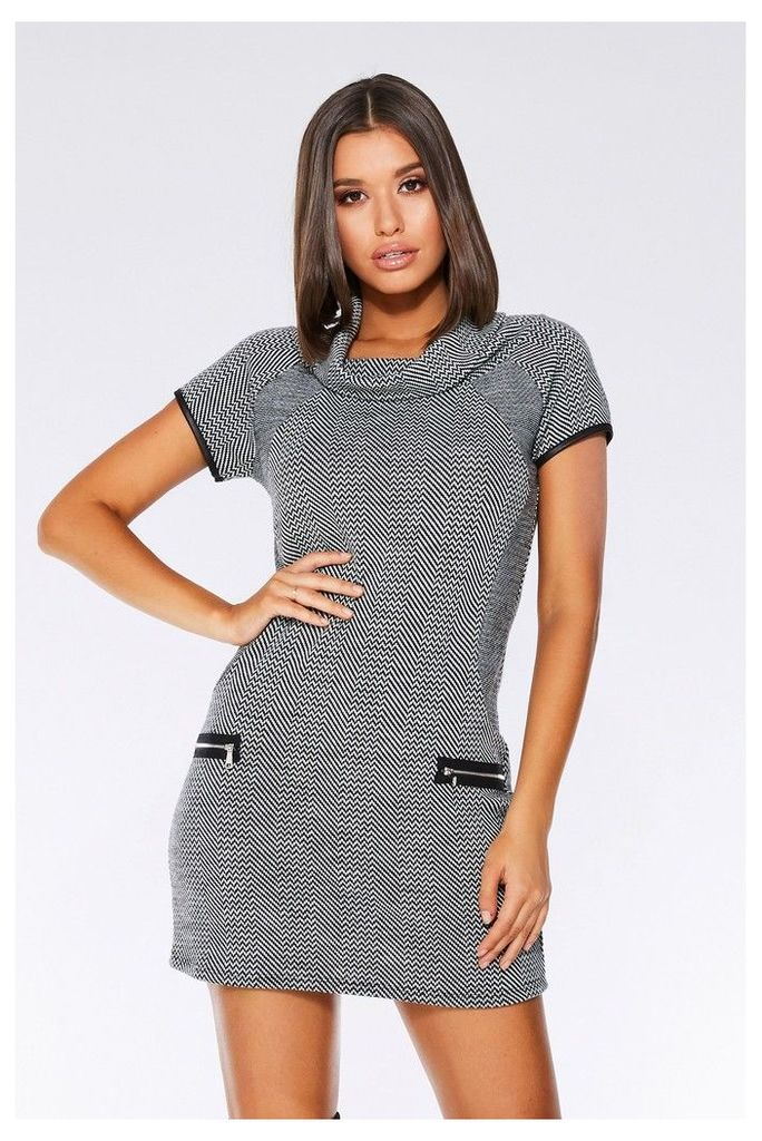 Womens Quiz Tunic Dress -  Black