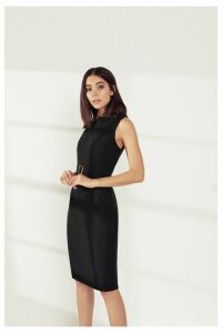 Womens Dorothy Perkins Belted Check Dress -  Black