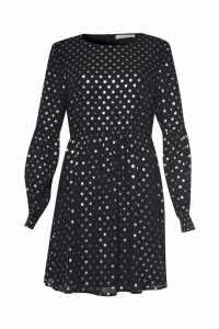 Womens Glamorous Curve Polka Dot Smock Dress -  Black