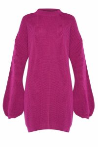 Womens Glamorous Curve Knitted Dress -  Pink