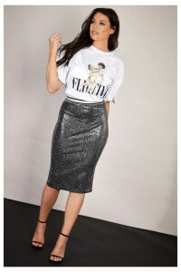 Womens Sistaglam Loves Jessica Sequin Lurex Stretch Skirt -  Silver