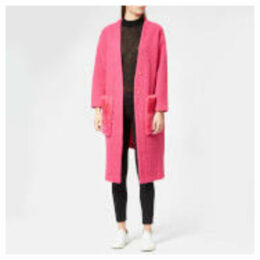 Anne Vest Women's May Asymmetric Cardigan - Pink with Pink Shearling Pocket - FR 42/UK 14 - Pink