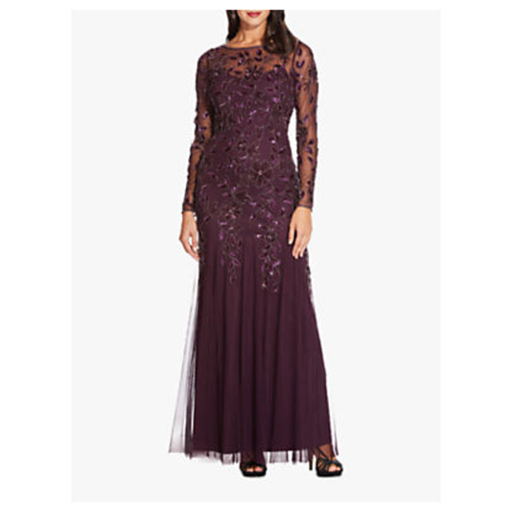 Adrianna Papell Beaded Long Leaf Dress, Night Plum