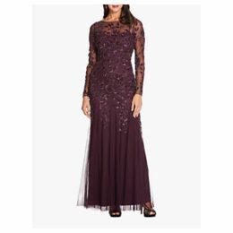 Adrianna Papell Beaded Long Leaf Dress, Night Plum