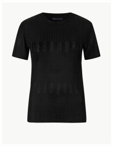 M&S Collection Textured Round Neck Fitted T-Shirt