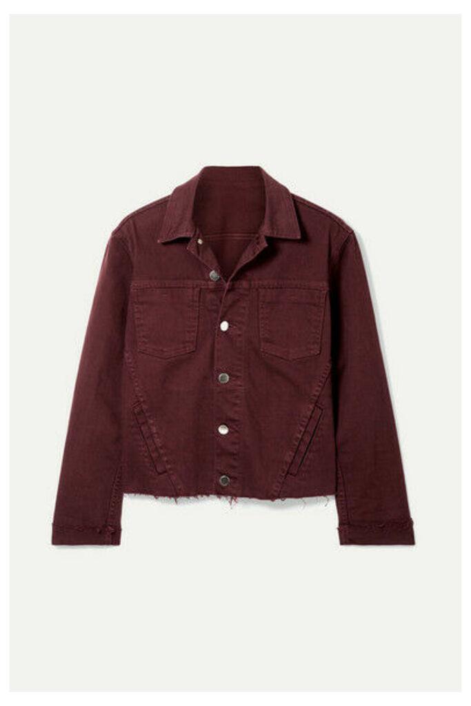L'Agence - Janelle Cropped Frayed Denim Jacket - Burgundy