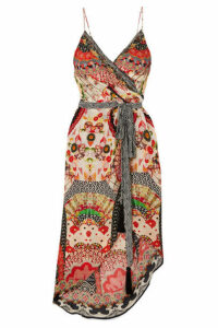 Camilla - Asymmetric Printed Silk Crepe De Chine Wrap Dress - Cream
