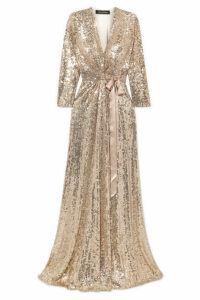 Jenny Packham - Satin-trimmed Sequined Silk-chiffon Wrap Gown - Gold