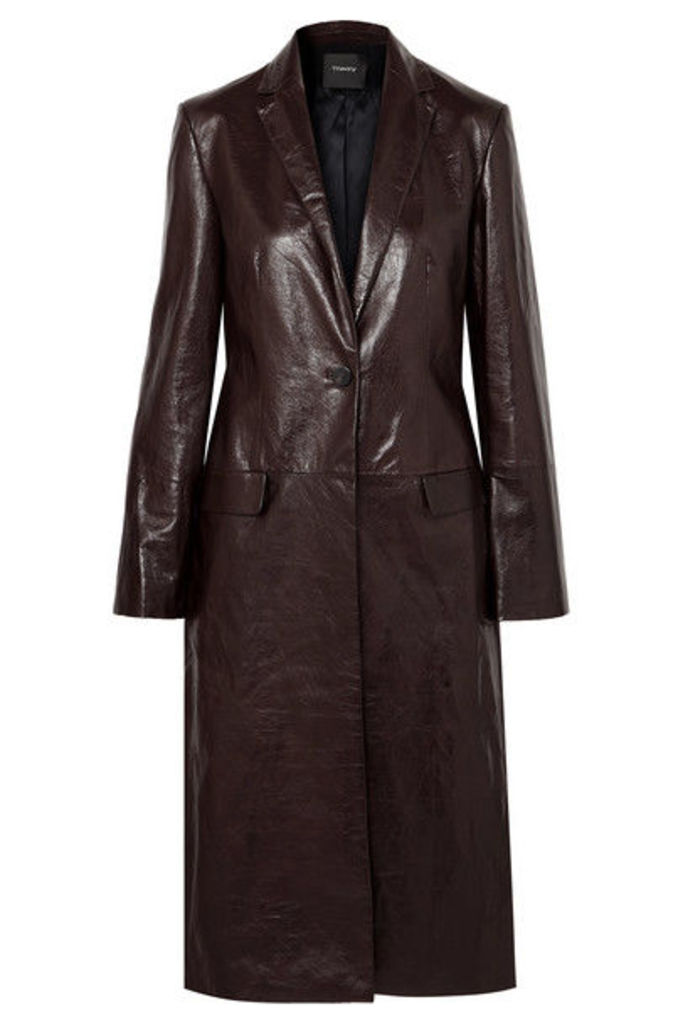 Theory - Textured-leather Coat - Chocolate