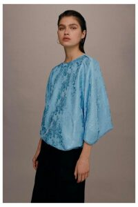 Womens **Jacquard Batwing Top By Boutique - Blue, Blue