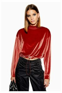 Womens Velour Funnel Neck Sweatshirt - Rose, Rose