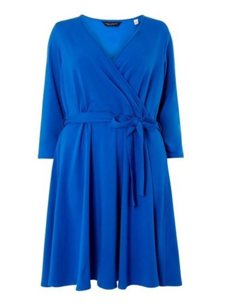 Womens **Dp Curve Cobalt 3/4 Sleeve Wrap Dress- Cobalt, Cobalt
