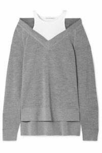 alexanderwang.t - Layered Wool And Stretch-cotton Jersey Sweater - Gray