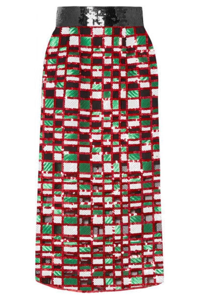 Christopher Kane - Checked Sequined Tulle Midi Skirt - Red