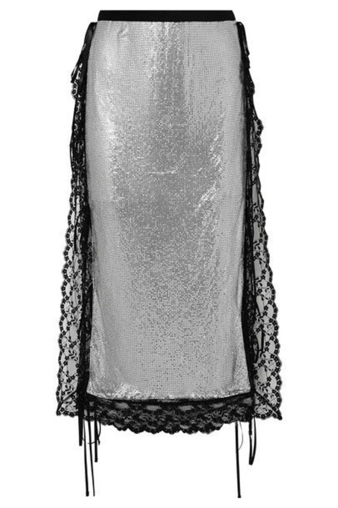 Christopher Kane - Lace-trimmed Chainmail Midi Skirt - Silver