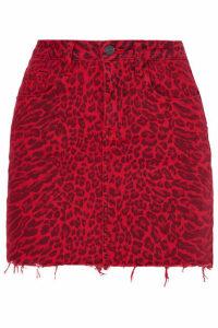 Current/Elliott - The Five Pocket Leopard-print Denim Mini Skirt - Red