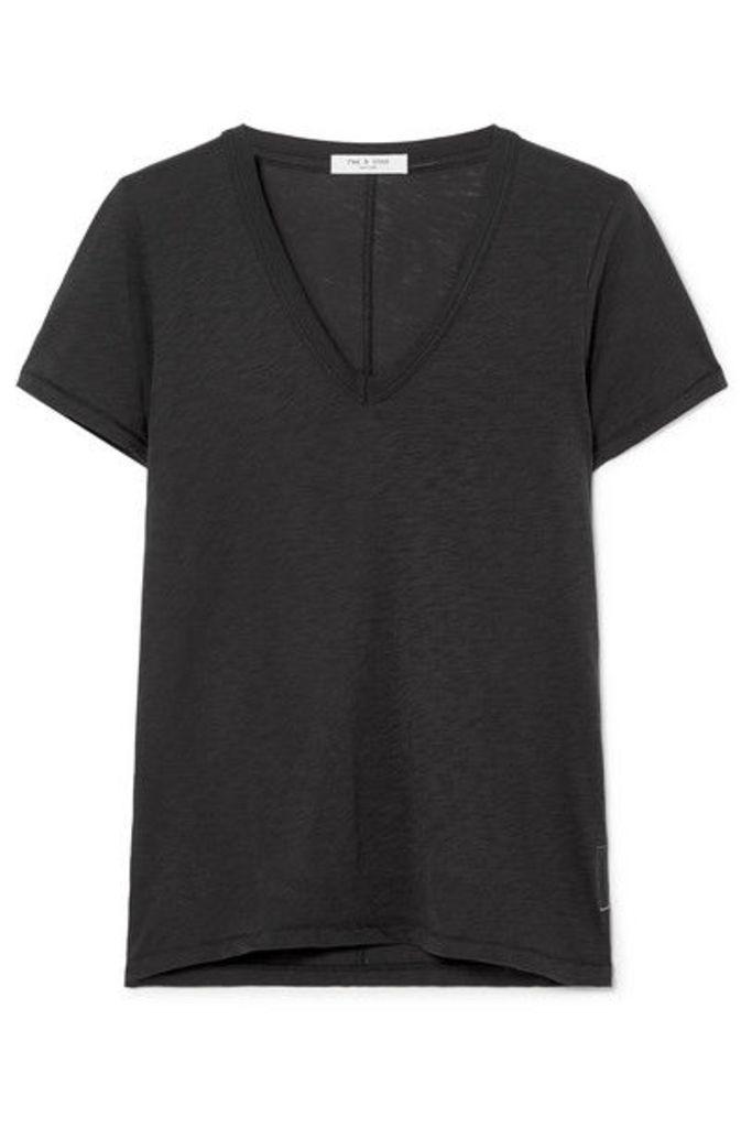 rag & bone - The Vee Pima Cotton-jersey T-shirt - Black