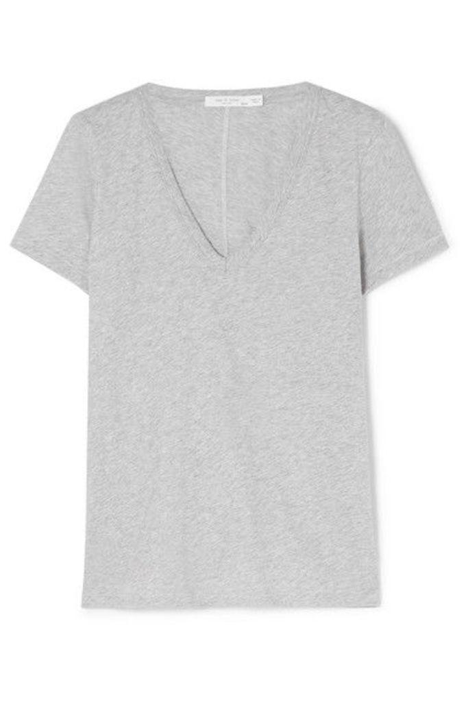 rag & bone - The Vee Pima Cotton-jersey T-shirt - Gray