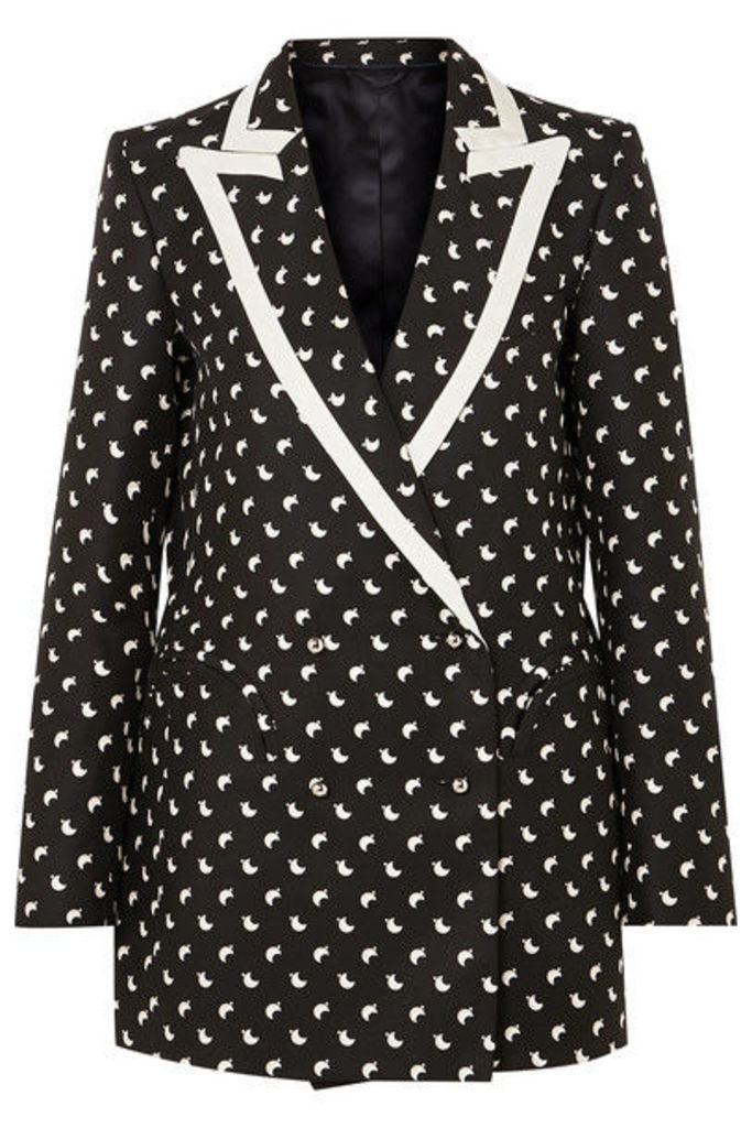 Blazé Milano - Everyday Double-breasted Faille-trimmed Printed Silk Blazer - Black