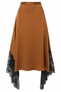 Christopher Kane - Asymmetric Lace-paneled Satin Midi Skirt - Brown