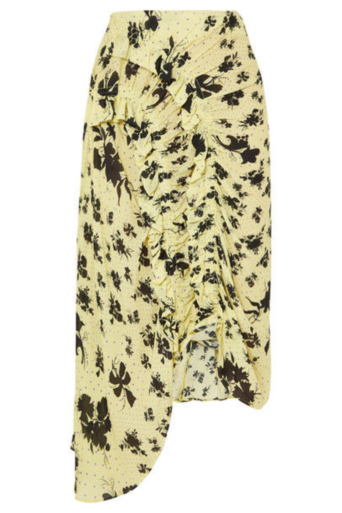 Preen Line - Yuna Ruffled Shirred Floral-print Georgette Midi Skirt - Pastel yellow