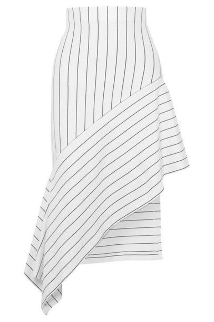 Rosetta Getty - Asymmetric Striped Stretch-jersey Midi Skirt - White