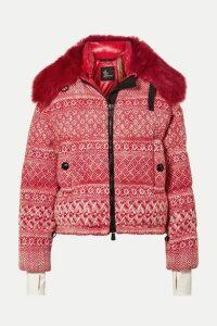 Moncler Genius - + 3 Grenoble Faux Shearling-trimmed Wool-blend Tweed Down Jacket - Red