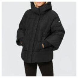 Armani Exchange Women's Hooded Coat with Ribbed Sleeves - Black